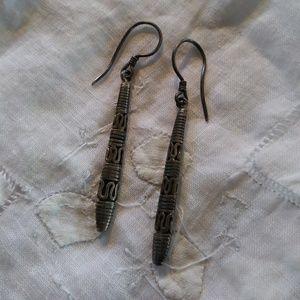 Vintage Indonesian Sterling Silver Drop Earrings